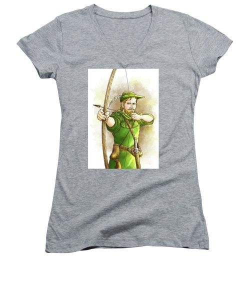 Robin Hood The Legend Women's V-Neck T-Shirt (Junior Cut) by Reynold Jay