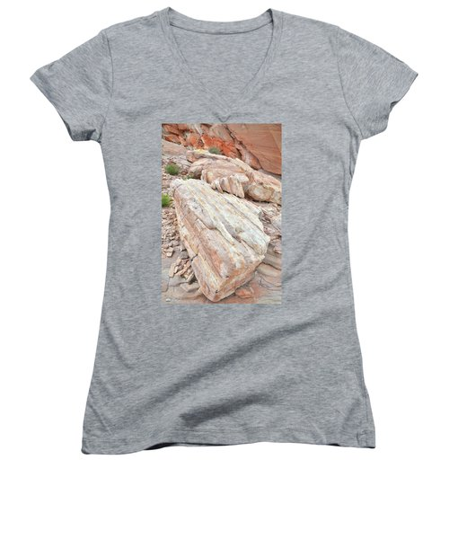 Women's V-Neck T-Shirt (Junior Cut) featuring the photograph Sandstone Slope In Valley Of Fire by Ray Mathis