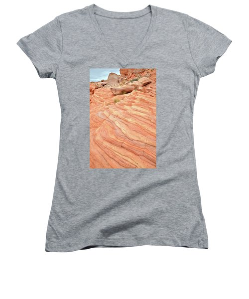 Women's V-Neck T-Shirt (Junior Cut) featuring the photograph Sandstone Swirls In Valley Of Fire by Ray Mathis