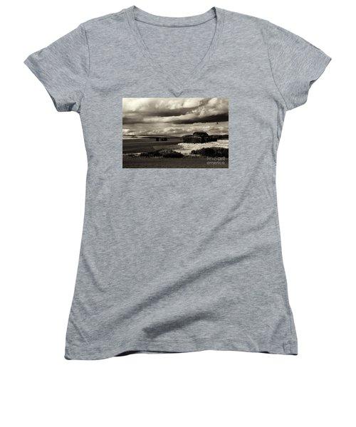 Women's V-Neck T-Shirt (Junior Cut) featuring the photograph Seen Better Days by Mike Dawson