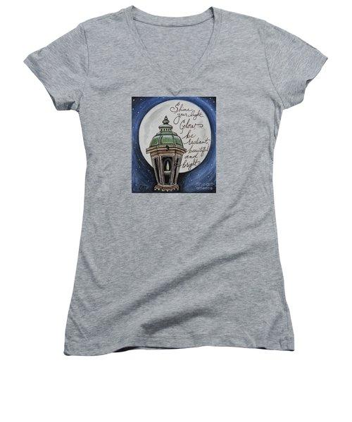 Shine Your Light Women's V-Neck T-Shirt (Junior Cut) by Elizabeth Robinette Tyndall