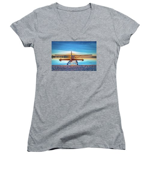 Splash-in Sunrise Women's V-Neck T-Shirt