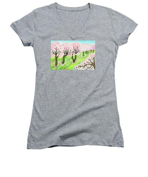Spring Garden, Painting Women's V-Neck T-Shirt (Junior Cut) by Irina Afonskaya
