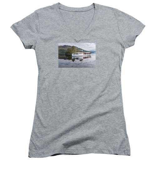 Steamship Sir Walter Scott On Loch Katrine Women's V-Neck T-Shirt