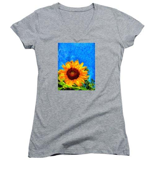 Sunflower  Women's V-Neck T-Shirt (Junior Cut) by Andre Faubert