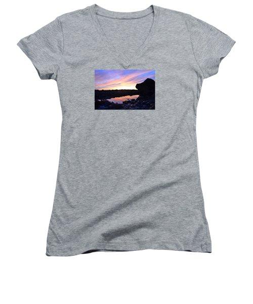 Sunset Women's V-Neck T-Shirt (Junior Cut) by Alex King