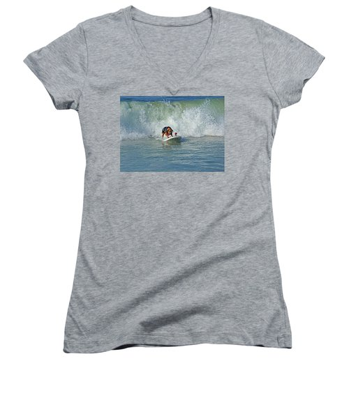 Surfing Dog Women's V-Neck T-Shirt (Junior Cut) by Thanh Thuy Nguyen