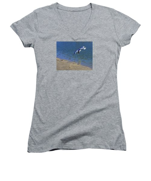 Women's V-Neck T-Shirt (Junior Cut) featuring the photograph 2 Terns In Flight by Robb Stan
