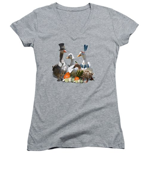 Thanksgiving Ducks Women's V-Neck T-Shirt