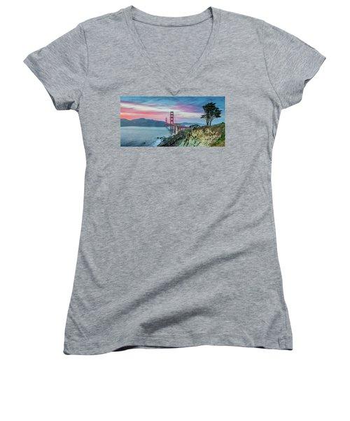 The Golden Gate Women's V-Neck T-Shirt (Junior Cut) by JR Photography