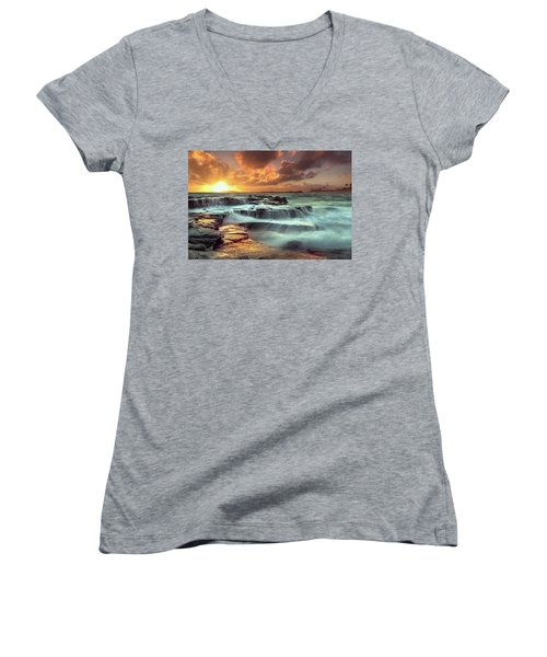 The Golden Hour Women's V-Neck T-Shirt (Junior Cut) by James Roemmling