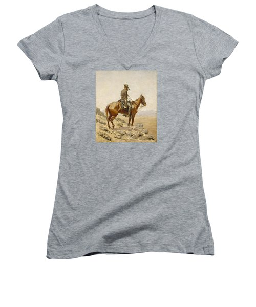 The Lookout Women's V-Neck T-Shirt (Junior Cut) by Frederic Remington