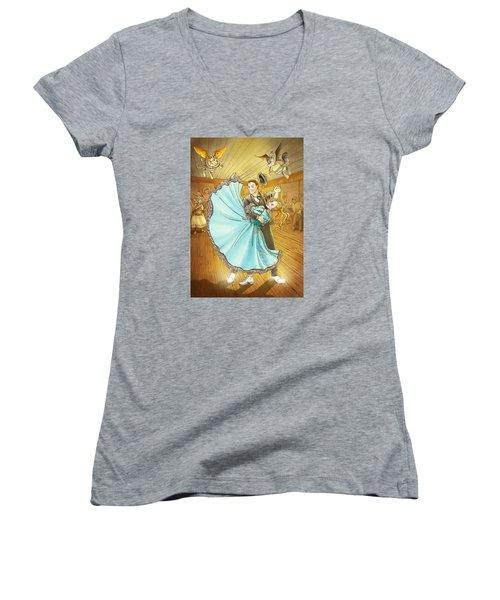 The Magic Dancing Shoes Women's V-Neck T-Shirt (Junior Cut) by Reynold Jay