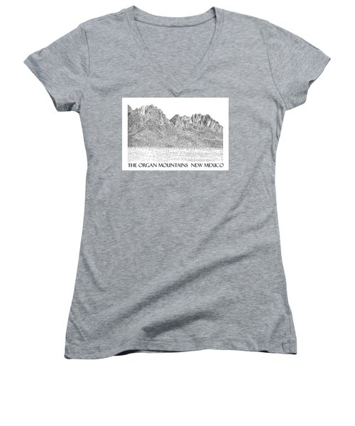 Women's V-Neck T-Shirt (Junior Cut) featuring the painting The Organ Mountains by Jack Pumphrey