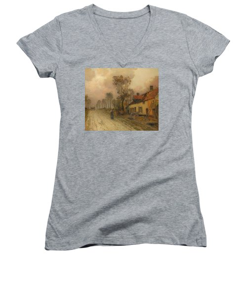 Women's V-Neck T-Shirt (Junior Cut) featuring the painting The Route Nationale At Samer by Jean-Charles Cazin