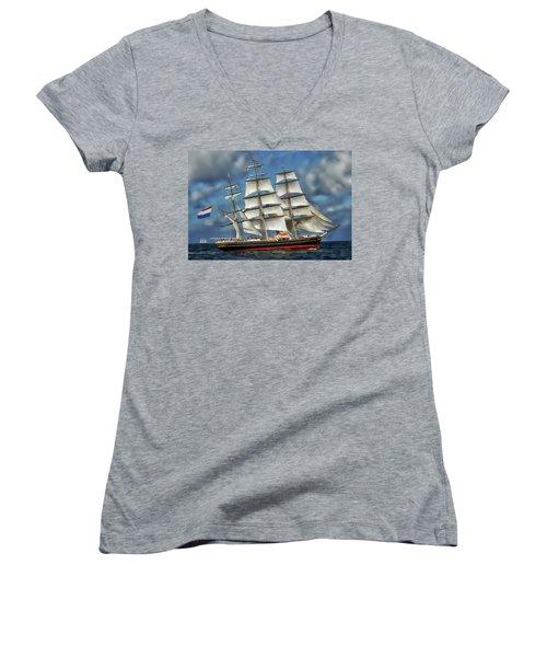 Three Mast Schooner Women's V-Neck T-Shirt (Junior Cut) by Anthony Dezenzio