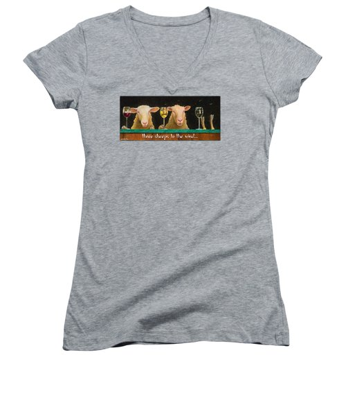 Three Sheeps To The Wind... Women's V-Neck T-Shirt (Junior Cut) by Will Bullas