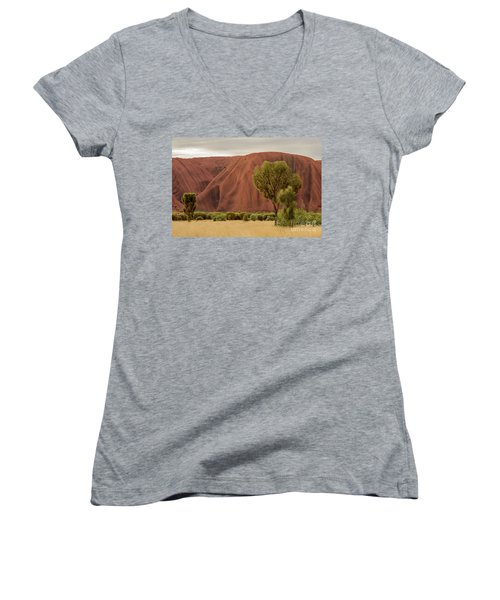 Women's V-Neck T-Shirt featuring the photograph Uluru 08 by Werner Padarin