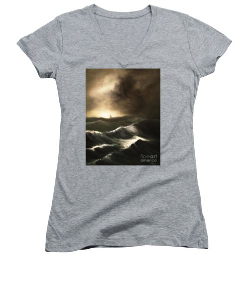 Women's V-Neck T-Shirt (Junior Cut) featuring the painting Untitled by Stephen Roberson