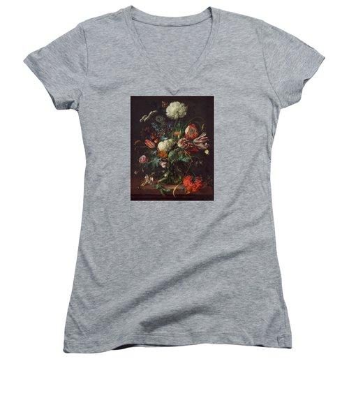 Vase Of Flowers Women's V-Neck T-Shirt (Junior Cut) by Jan Davidsz de Heem