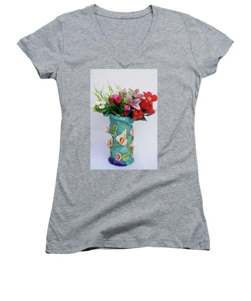Vase, Rose Calla Women's V-Neck (Athletic Fit)