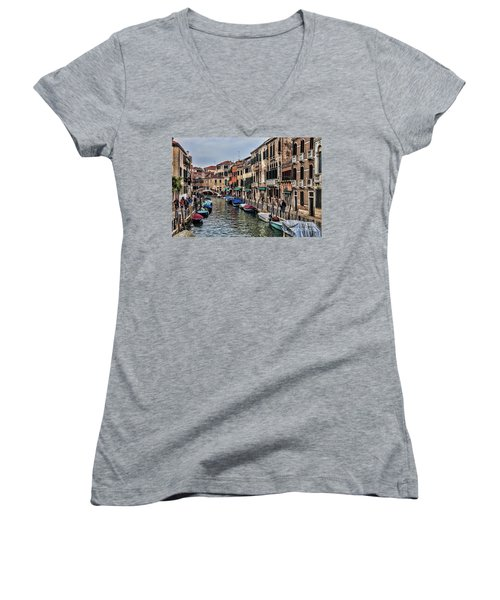 Women's V-Neck T-Shirt (Junior Cut) featuring the photograph Venice by Shirley Mangini