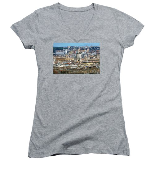 View Of Rome Italy From Atop Gianicolo Hill Women's V-Neck (Athletic Fit)