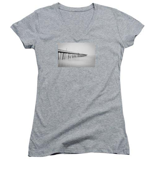 Virginia Beach Fishing Pier  Women's V-Neck T-Shirt (Junior Cut) by Scott Meyer