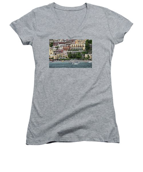 Water Taxi From Amalfi To Positano Women's V-Neck T-Shirt