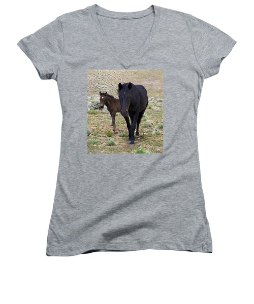 Wild Mustang Mare And Foal Women's V-Neck