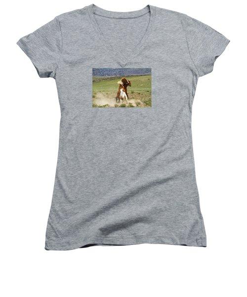 Wild Mustang Stallions Fighting Women's V-Neck T-Shirt