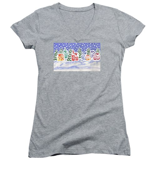 Winter Landscape With Multicolor Houses, Painting Women's V-Neck T-Shirt (Junior Cut) by Irina Afonskaya