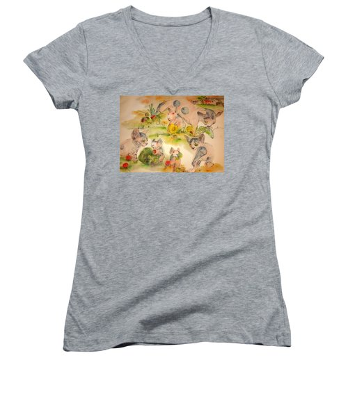Women's V-Neck T-Shirt (Junior Cut) featuring the painting World Of Guinea Pigs And Naked Cats Album by Debbi Saccomanno Chan