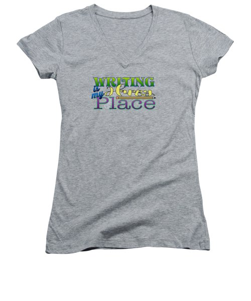Writing Is My Happy Place Women's V-Neck (Athletic Fit)