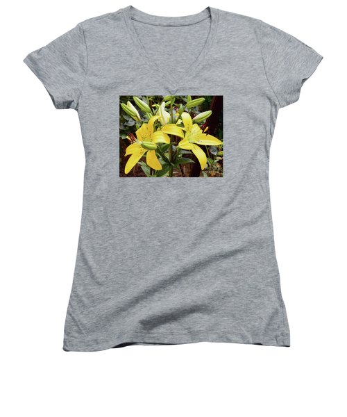 Women's V-Neck T-Shirt (Junior Cut) featuring the photograph Yellow Lily by Elvira Ladocki