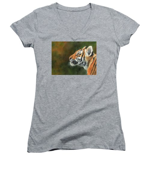 Women's V-Neck T-Shirt (Junior Cut) featuring the painting Young Amur Tiger  by David Stribbling