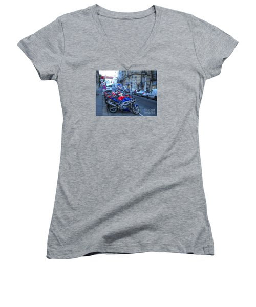 Women's V-Neck T-Shirt (Junior Cut) featuring the pyrography Yury Bashkin Street by Yury Bashkin