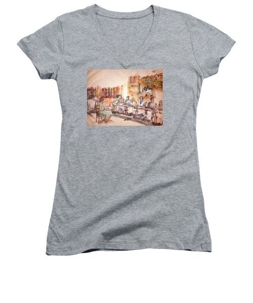 Women's V-Neck T-Shirt (Junior Cut) featuring the painting Of Clogs And Windmills Album by Debbi Saccomanno Chan