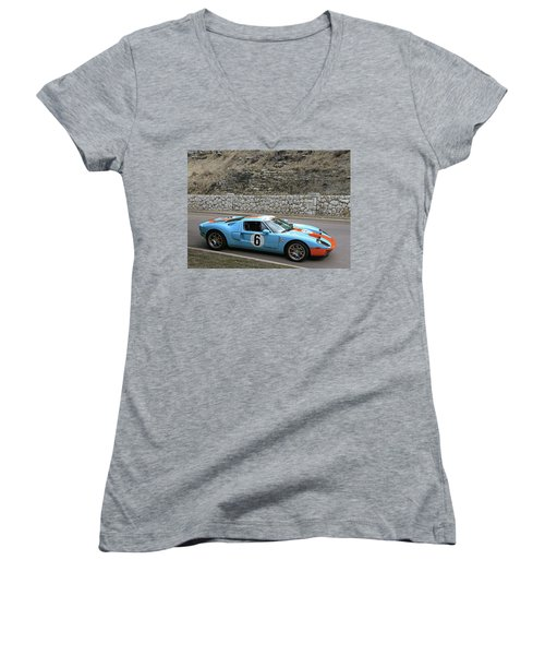 Women's V-Neck T-Shirt (Junior Cut) featuring the photograph 2006 Ford Gt  by Christopher McKenzie