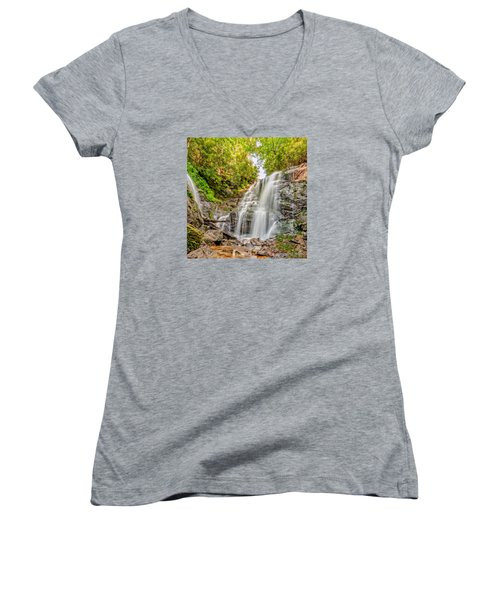 Women's V-Neck T-Shirt (Junior Cut) featuring the photograph Rocky Falls by Christopher Holmes