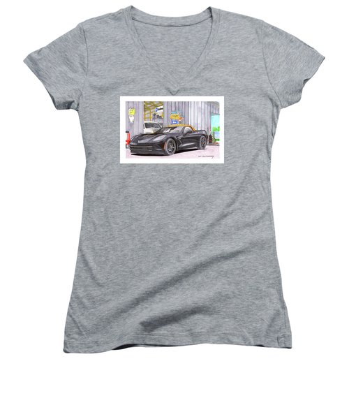 Women's V-Neck T-Shirt (Junior Cut) featuring the painting 2014 Corvette And Man Cave Garage by Jack Pumphrey