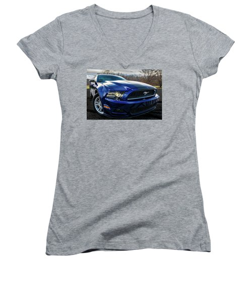 Women's V-Neck T-Shirt (Junior Cut) featuring the photograph 2014 Ford Mustang by Randy Scherkenbach