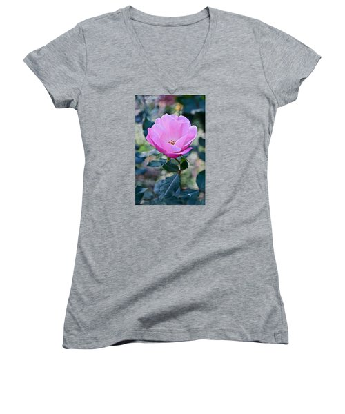 2015 After The Frost At The Garden Pink  Rose Women's V-Neck T-Shirt (Junior Cut) by Janis Nussbaum Senungetuk