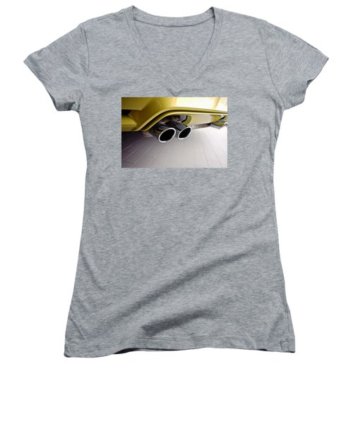 Women's V-Neck T-Shirt (Junior Cut) featuring the photograph 2015 Bmw M4 Exhaust by Aaron Berg