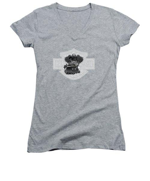 Women's V-Neck T-Shirt (Junior Cut) featuring the digital art 2015 Harley-davidson Street-xg750 Engine With 3d Badge  by Serge Averbukh