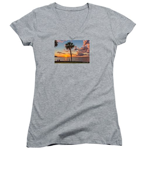 Women's V-Neck T-Shirt (Junior Cut) featuring the photograph Sunset Over Lake Eustis by Christopher Holmes
