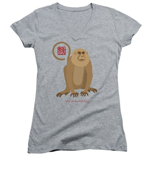 2016 Chinese New Year Of The Monkey Women's V-Neck T-Shirt (Junior Cut) by Jit Lim