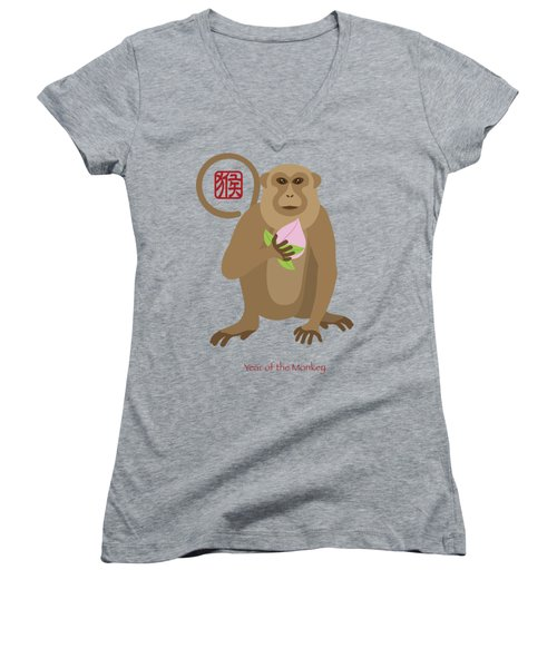 2016 Chinese Year Of The Monkey With Peach Women's V-Neck T-Shirt (Junior Cut) by Jit Lim