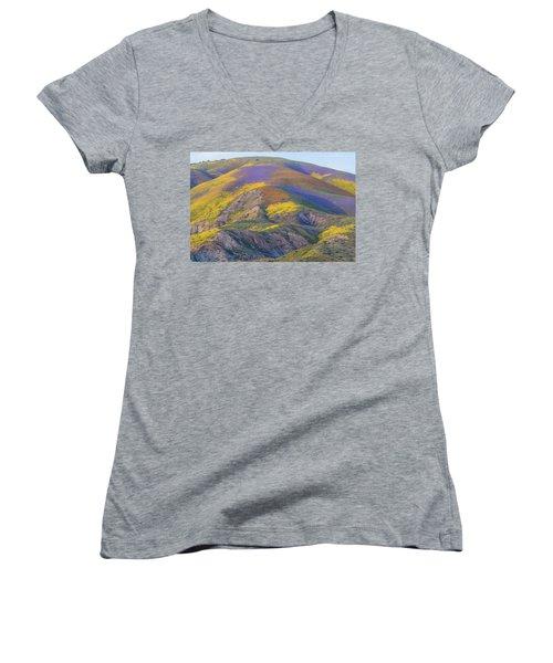 2017 Carrizo Plain Super Bloom Women's V-Neck T-Shirt (Junior Cut) by Marc Crumpler