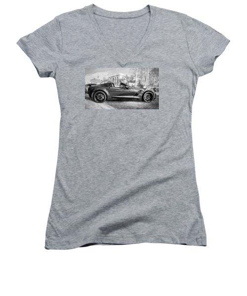 Women's V-Neck T-Shirt (Junior Cut) featuring the photograph 2017 Chevrolet Corvette Gran Sport Bw by Rich Franco